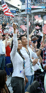 Daniel Dae Kim and Kelly Hu at the Democratic National Convention. Photo by Ian Lind (iLind.net).