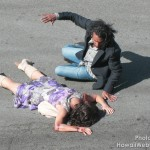 Andrea Gabriel and Naveen Andrews filming the death of Nadia at the corner of La Brea and Santa Monica.